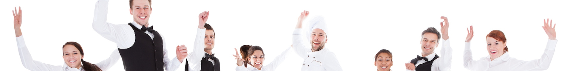 Waiters and waitresses jumping over white background